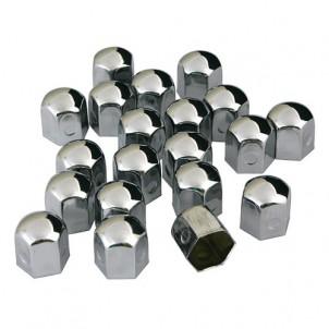 20 caches chromes pour crous ou vis de roue de 19 ou 17. Black Bedroom Furniture Sets. Home Design Ideas