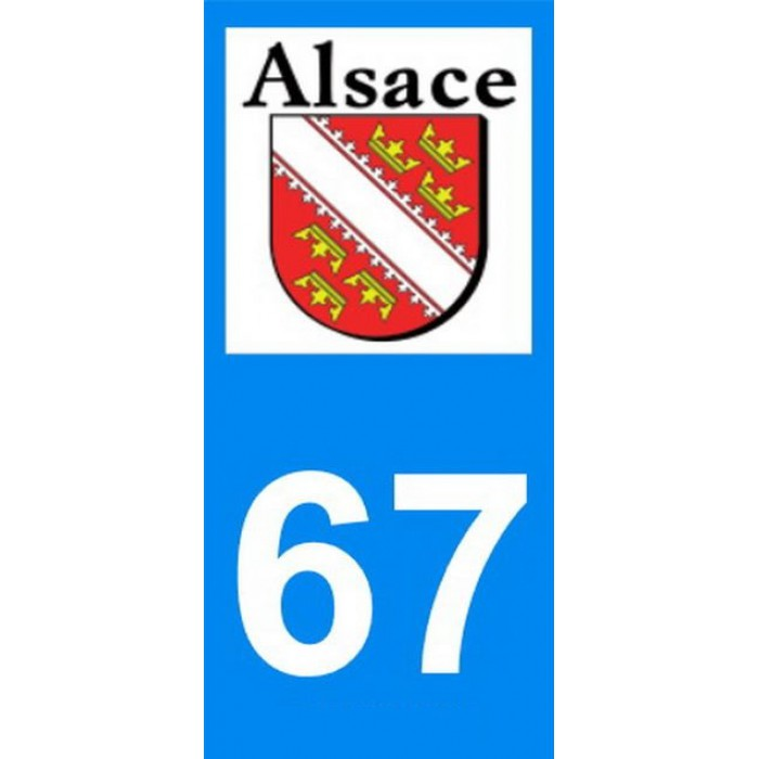 stickers pour plaque d 39 immatriculation departement 67 alsace. Black Bedroom Furniture Sets. Home Design Ideas