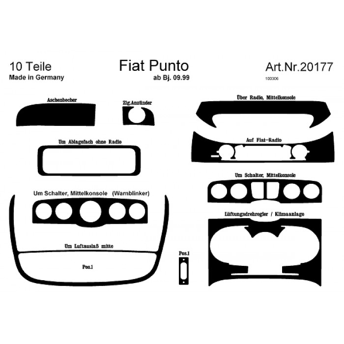d coration de tableau de bord fiat punto. Black Bedroom Furniture Sets. Home Design Ideas