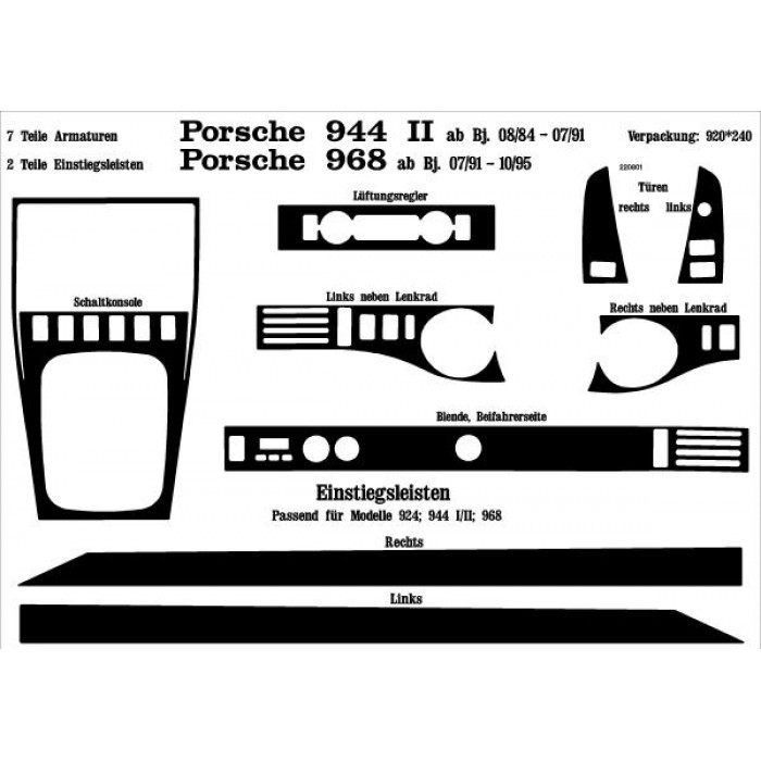 D coration tableau de bord seuils de portes porsche 944 ii for Porsche 944 interieur
