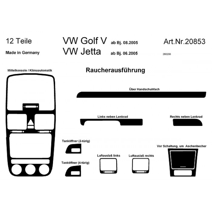d coration de tableau de bord volkswagen golf v. Black Bedroom Furniture Sets. Home Design Ideas