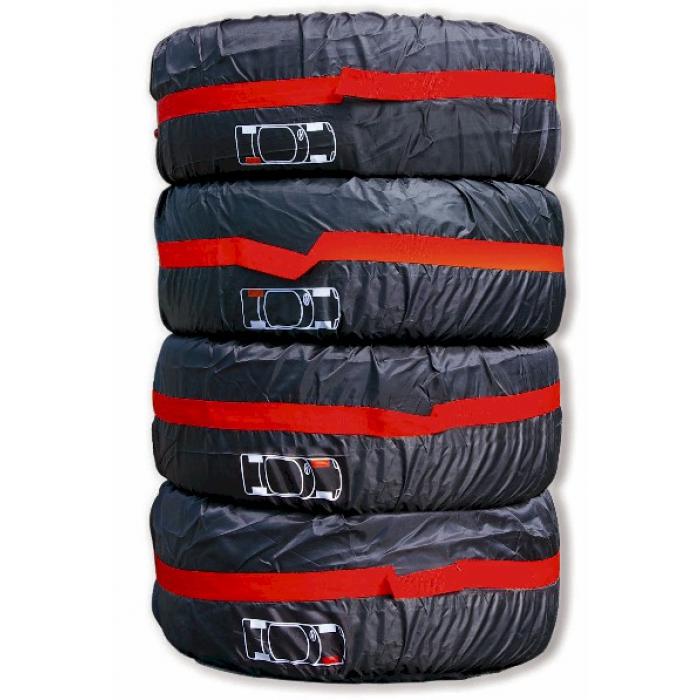4 housses de roues noir rouge carpoint accessoires jantes et pneus housses et rangement. Black Bedroom Furniture Sets. Home Design Ideas